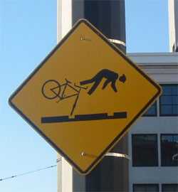 bicycle crash sign