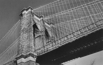 The spires of the Brooklyn bridge