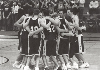 A team in a huddle