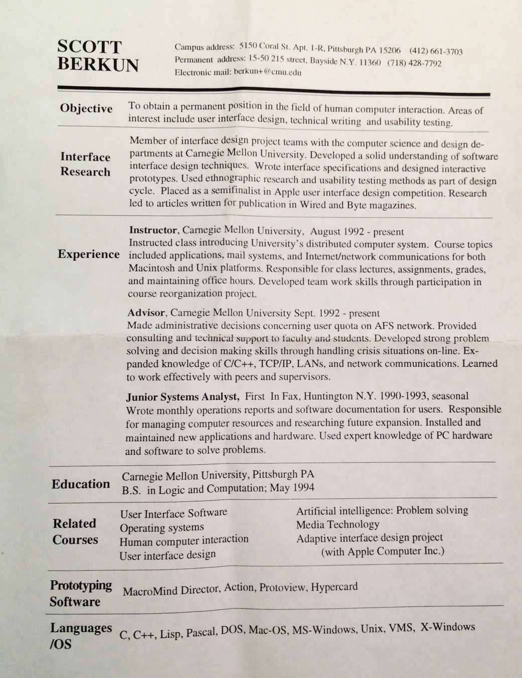Would you hire me? Resume from 1994 | Scott Berkun