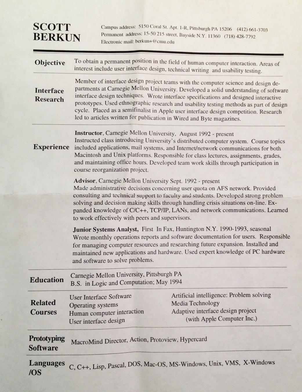 berkun resume 1994