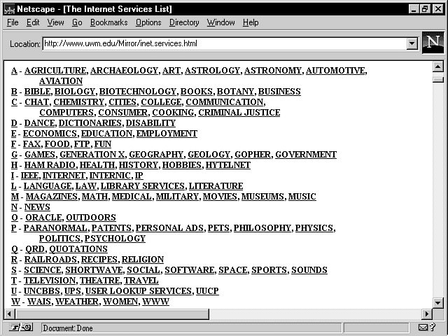 A screenshot of a text-only page in Netscape browser, with an alphabetical list of subjects each containing a hyperlink
